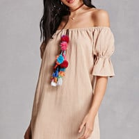 Off-the-Shoulder Pom Pom Dress
