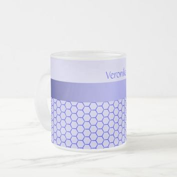Blue pattern. Grid and silk band. Add your text. Frosted Glass Coffee Mug
