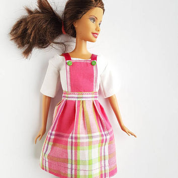 Fashion outfit for dolls clothes barbie top skirt dress hand made dollhouse gift for her women birthday
