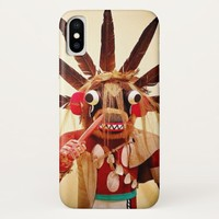Cute, red and brown, funny face kachina doll photo iPhone x case