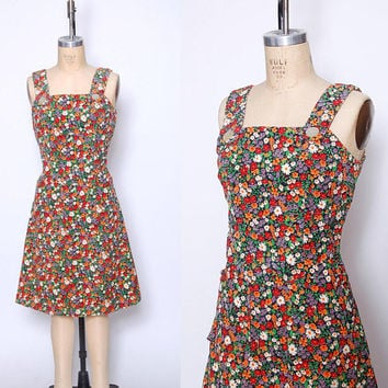 Vintage 70s CORDUROY Dress DITZY Floral Jumper Floral Mini Dress