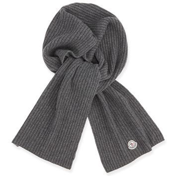 Men's Cashmere Ribbed Scarf, Charcoal, grey - Moncler