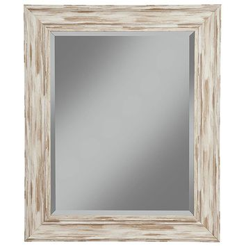 Polystyrene Framed Wall Mirror With Sharp Edges, Antique White