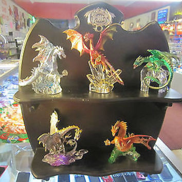 FRANKLINMINT SHELF W / 5 DRAGONS ON CRYSTAL BASES MADE BY