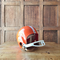 Vintage Youth Football Helmet, Vintage MacGregor Football Helmet, Orange And White Kids Football Helmet