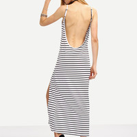 Long Maxi Black White Striped Backless Slit Cami Casual Summer Dress