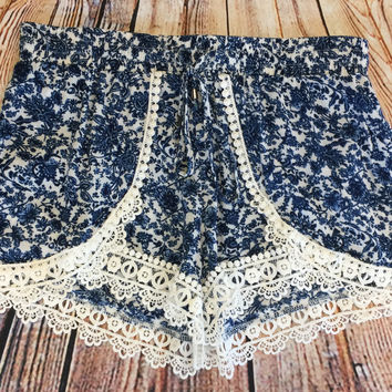 Floral Crochet Detail Shorts