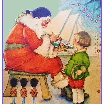 St Nick Santa Painting Toy Boat Holiday Christmas Counted Cross Stitch Pattern