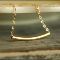 Curved Gold Tube Necklace in Gold-filled