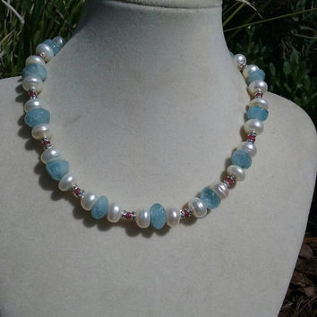 Sterling silver necklace with aquamarine, rubies and diamond accents