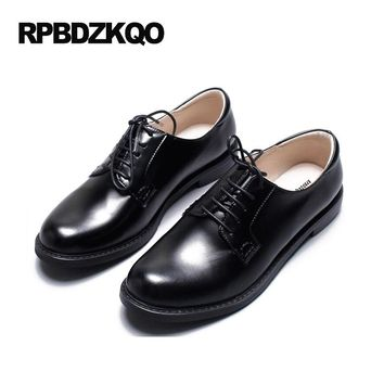 Round Toe Luxury Brand Shoes Women 2017 Genuine Leather Patent Flats British Style European Black Plain Spring Autumn Oxfords
