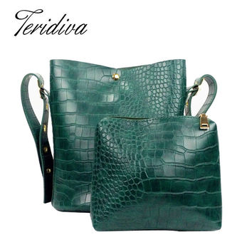Teridiva New Small Bucket Handbag Women Crocodile Shoulder Bags Composite Bag Women Pu Leather Handbags Vintage Alligator Bags