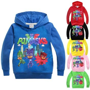 PJ Mask Spring Autumn Boys Hoodies and Sweatshirts 2017 Cartoon Kids Sweatshirt t-shirt boy tshirt clothes boys costume
