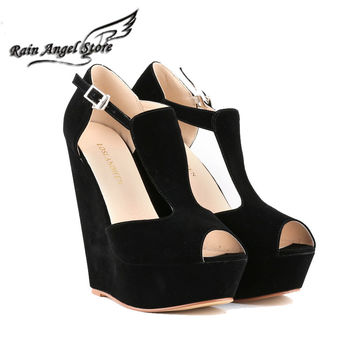 Roman Women Wedges Sandals Candy Color High-heeled Sandals 14cm Open Toe Suede Platform Shoes Womens Shoes Heels