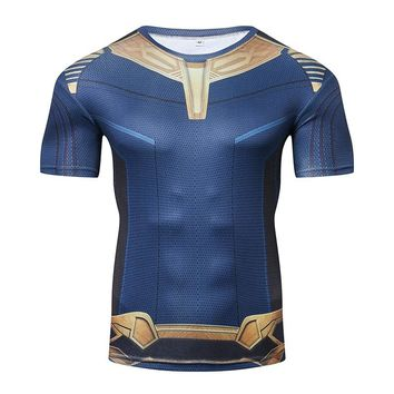 TOPESKO The Avengers 3 Thanos Compression Shirts Men T shirts Short Sleeve Fitnees Costume Cosplay Tops Clothes