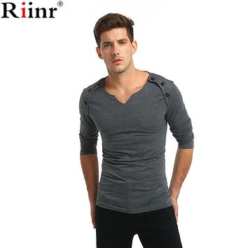 Fashion New Arrival T Shirts Men Spring High Quality V-Neck Solid Color Cotton Blends Long Sleeve Men's T Shirts