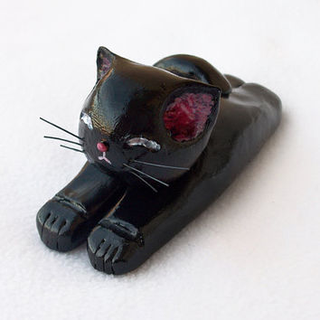 Black Cat Figurine, Handmade Polymer Clay OOAK Cat Sculpture, Cute Cat Ornament