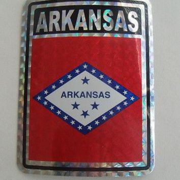 "Arkansas Flag Reflective Sticker 3""x4"" Inches Adhesive Car Bumper Decal"