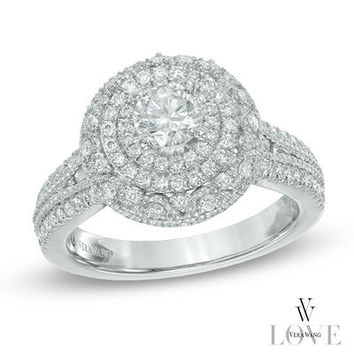 Vera Wang LOVE Collection 1 CT. T.W. Diamond Triple Frame Engagement Ring in 14K White Gold - View All Rings - Zales