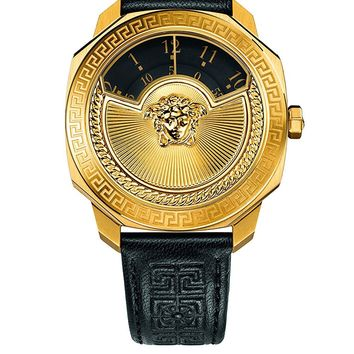 Versace Women's 'Dylos Icon' Swiss Quartz Stainless Steel and Black Leather Casual Watch (Model: VQU020015)
