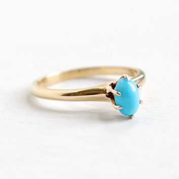 Antique Art Deco 14K Yellow Gold Turquoise Ring - Vintage Size 6 1/4 Raised Solitaire Blue Stone Fine Jewelry