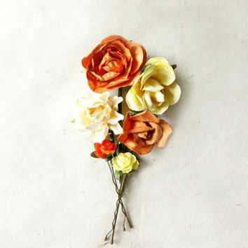 Paper Flower Hair Pins Set of 6. Summer Sunset Bobby Pins in Rustic Oranges, Yellow & Buttercream. Handmade Indie Wedding Hair Accessories.