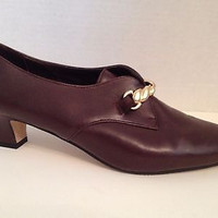Van Eli Shoes Womens Size 8.5 M Vaneli Brown Heels 8 1/2 Made in Italy Leather