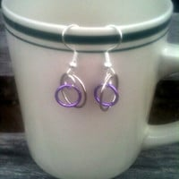 Purple and Silver Circle Earrings by By5Jewelry on Etsy