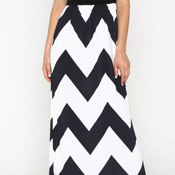 Affinity For Chevron Dress - Black and White