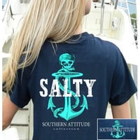 Southern Attitude Preppy Salty Anchor Skull Navy T-Shirt