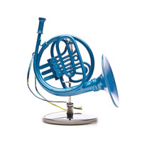 Blue French Horn Ornament with Stand