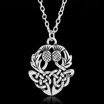 New Design Jewelry Scotland National Symbol Necklace Vintage Celtics Knot Thistly Flower Field Charm Men Women Gifts