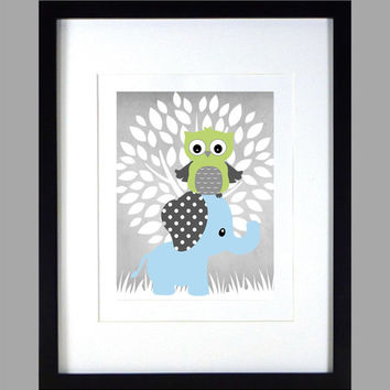 Baby Blue Elephant and Green Owl, Tree, Chevron Baby Nursery Art CUSTOMIZE YOUR COLORS 8x10 Prints Nursery Decor Print Art Baby Room Decor