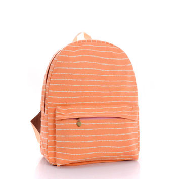 Casual Hot Deal Back To School College Comfort Stylish On Sale Orange Simple Design Stripes Canvas Backpack [8097660295]