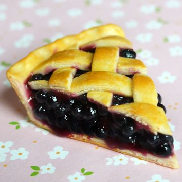 Blueberry Pie Slice Miniature Food Magnet, Polymer Clay