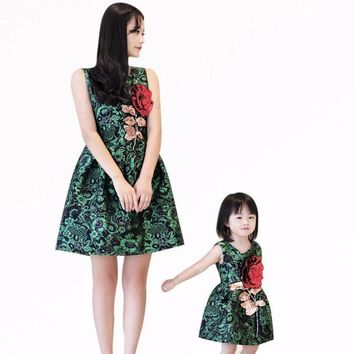 LMFLD1 Mother daughter dresses clothes family look children's girls wear sleeveless vest dress rose embroidered dress birthday gifts