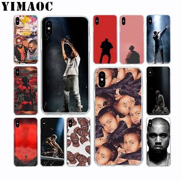 YIMAOC Kanye West Soft TPU Silicone Case for Apple Iphone Xr Xs Max X 10 8 Plus 7 6S 6 Plus SE 5S 5 7Plus 8Plus Cover