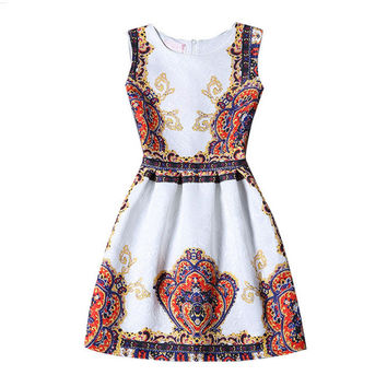 White Ethnic Print Sleeveless Back Zippered Dress