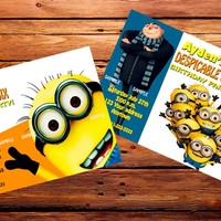 12 DESPICABLE ME MINIONS Birthday party invitations PRINTED