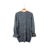 Gray Marled Sweater Plain Boyfriend 90s Loose Knit Slouchy Pullover Basic Grey Black Baggy Shirt Men's XL