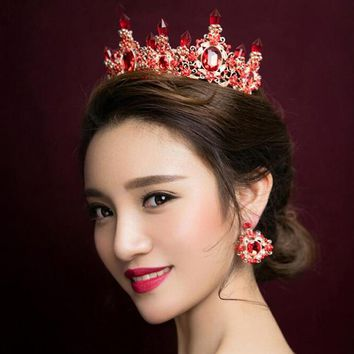 European King Queen Crown Rhinestone Tiara With Earrings Hair Jewelry Quinceanera Crown Wedding Brides Tiaras Crowns Pageant
