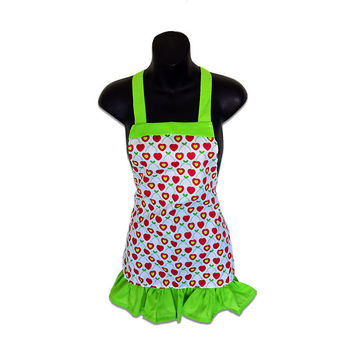 Cherries on White Kids Apron // Size 4-6-8-Young Adult