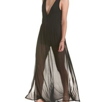 cbee210aaaf1 Black V-Neck Mesh Maxi Romper by from Charlotte Russe