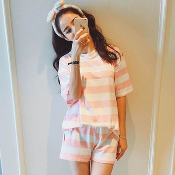 Adult unicorn kigurumi pajamas  plus-size women   sleeve shorts leisure milk silk stripes Casual suit