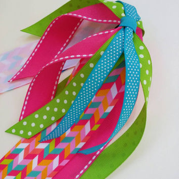 Girls hair streamers, colorful ponytail ribbon, multicolor streamer bow, pink, orange, green, blue, hair ribbon bow, chevron ribbon, summer