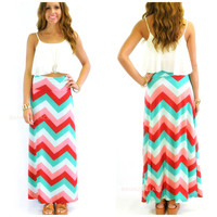 Sunset Waters Mint Chevron Maxi Skirt