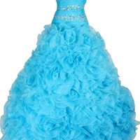 Dearta Women's A-Line Strapless Sleeveless Floor-Length Quinceanera Dresses