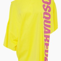Side Logo Short Kaftan - Yellow/Fuchsia Pink