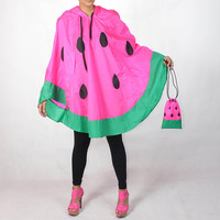 NEON PINK Watermelon Waterproof Rain Poncho,Cape Hood, Nylon Rain Jacket, with Free Watermelon Bag.