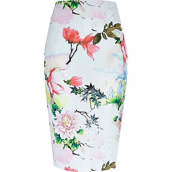 River Island Womens Pink floral print jersey pencil skirt